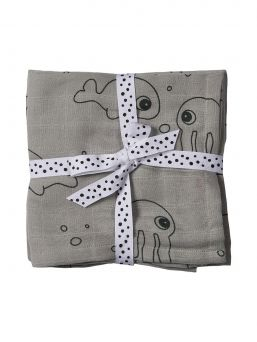 Amningstrasor 2-pack 70x70 (Sea friends Grey) | Done By Deer