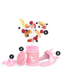 Twistshake Cup 230ml 4+m Pearl Pink Non Spill Cups
