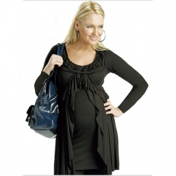 Gravid skjorta Pleat Top (svart)